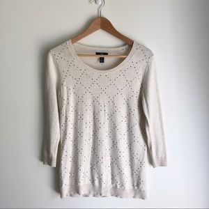 Gap Factory Bedazzled Beige Sweater Small
